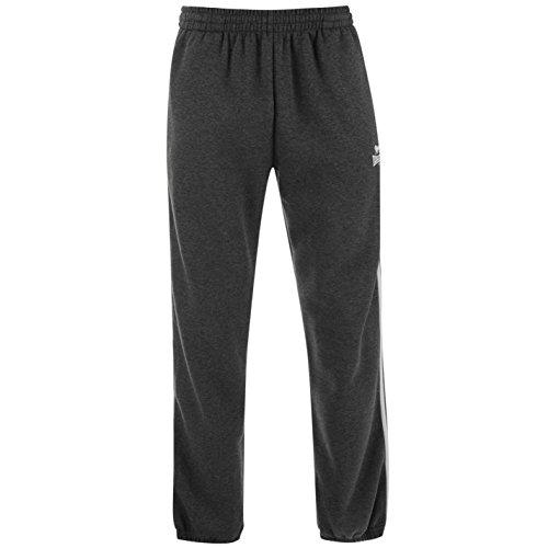 Lonsdale Herren 2 Streifen Jogginghose Jersey Trainingshose Hose Taschen, Graum/weiß, XX-Large (Drawstring-tasche Trainingshose)