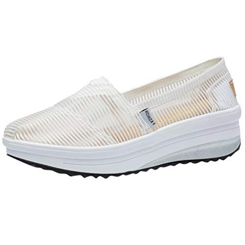 (CixNy Damen Heels Leder Pumps Loafer Damenmode Outdoor Mesh Sport Schuhe Plateauschuhe Atmungsaktiv Laufschuhe Sommer Low Top Ankle Schuhe Elegante Vintage Flats Bequem)