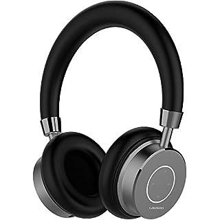 Lauson Kabelloses Bluetooth-Headset mit Mikrofon, Freisprech- und Lautstärkeregler, gepolsterte LED-Anzeige, USB-Ladekabel (in verschiedenen Farben erhältlich), Aluminiumring (Schwarz)