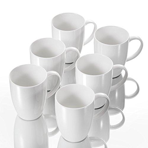 Panbado 6 TLG. Kaffeetassen aus Porzellan, Weiß Kaffeepott Set, 370 ml Große Tasse -
