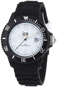Ice Watch - SI.BW.U.S.10 - Montre Mixte - Quartz Analogique - Cadran Blanc - Bracelet Silicone Noir - Moyen Modèle