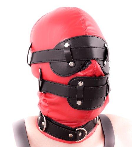 EXTREME Bondage Kopfmaske abschließbar ROT mit Mundknebel & Augenbinde und Halsband mit 3 D-Ringen - Größe universal - Kopfmaske die Ihre Sinne raubt - Bondage Fetisch SM Rollenspiel (ROT mit Schlössern)