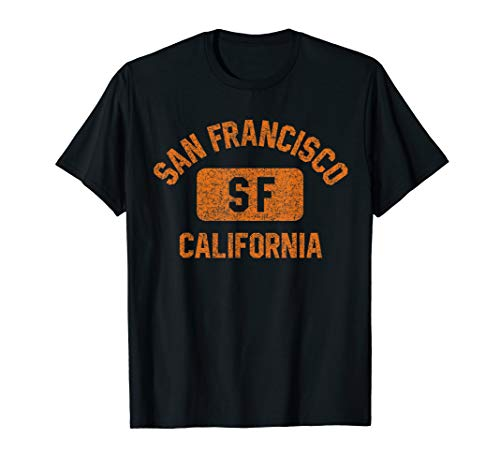 San Francisco SF Gym Style Distressed Orange Print T-Shirt