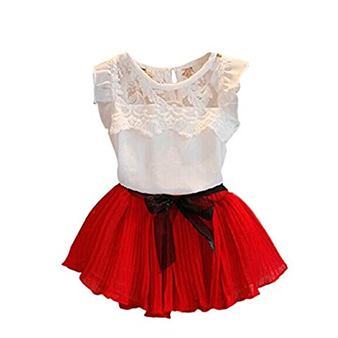 BOBORA Baby Girls Chiffon Floral White T-shirt+ Pleated Bow Skirts Outfits Tutu Dress (XL(6 Years), Red)