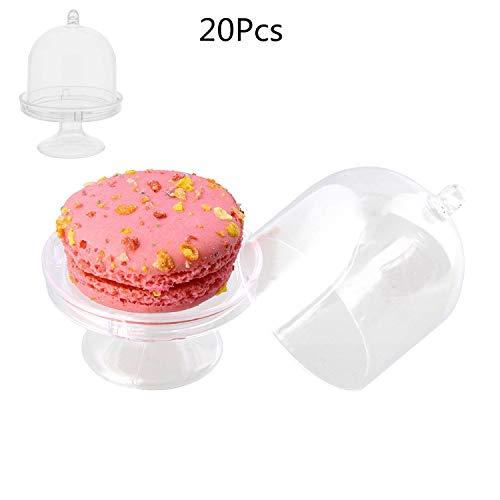 Xinqin Ding 20 Stücke Mini Tortenständer Mini Dessertteller mit Ständer und Kuppel Abdeckung für Baby Shower Hochzeit Geburtstag Party Decor (Cupcake-kuppel)