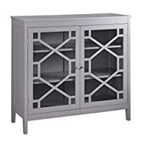 Benjara Two Door Wooden Cabinet with Three Storage Compartments, Large, Gray, Wood