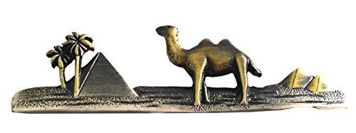 Unbekannt Egypt Krawattennadel Klammer Kamel, Pyramiden + Palmen antikbicolor Matt + Geschenkbox