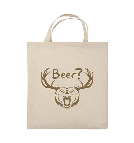 Comedy Bags - Beer? - BÄR GEWEIH - Jutebeutel - kurze Henkel - 38x42cm - Farbe: Schwarz / Silber Natural / Hellbraun