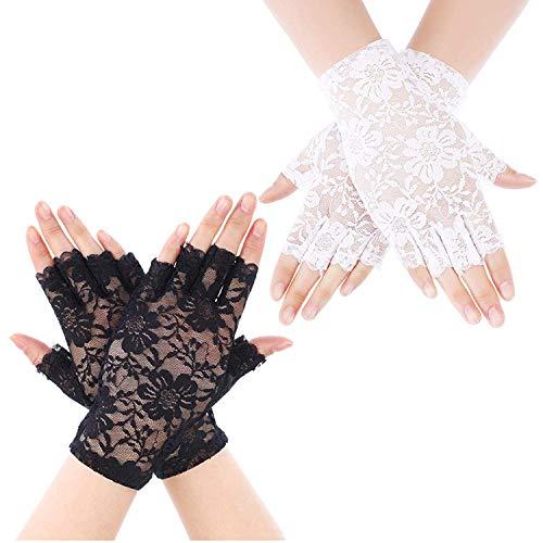 Bigbigjk 4 Paare Frauen Spitze Handschuhe,Half Finger Braut Handschuhe UV Schutz Fingerlose Handschuhe Venezianisches Ser für Fasching & Halloween (20er Jahre Kostüm Für Paare)