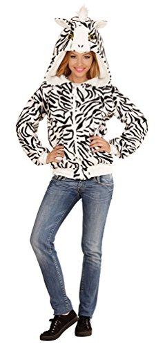 Karneval-Klamotten Zebra Kostüm Damen Zebra Jacke Damen mit Kapuze mit Ohren Tier-Kostüm Karneval Damen-Kostüm ()