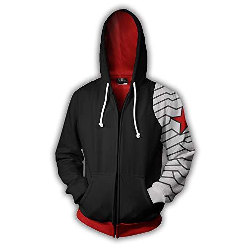 Kostüm Soldat Winter Für Herren - 3D Print Winter Soldat Hoodie Herren Tasche Pullover Paar Pullover Sweatshirt Cosplay Kostüm,Black,S