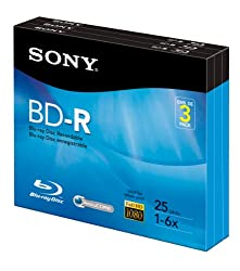 Sony 3BNR25R3H 6x 25GB Recordable Blu-Ray Disc - 3 Pack