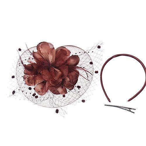 Sungpunet Bowler-Feder-Blumen-Hochzeit Minispitzenhut-Haar-Klipp-Cocktail-Party-Hut für Mädchen und Frauen - Braun Bowler Hut Kostüm