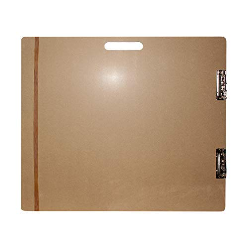 Großes Holz Zeichenbrett - Holz Sketch Board - Klemmbrett mit langem elastischem Band und Metallklemmen 66cm x H58cm - Extrafeste Künstler Palette zum Malen, Zeichnen, Sketching -