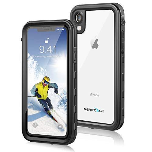 Meritcase iPhone XR Hülle, Handyhülle 6.1 Zoll IP68 Wasserdicht Stoßfest Staubdicht Schneefest Ultradünn Leicht Outdoor Unterwassergehäuse Full Body Schutzhülle für iPhone XR (Schwarz)