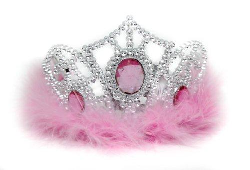 Glamour Girlz niñas de imitación Tiara de plástico plumas blancas y con joyas de color rosa