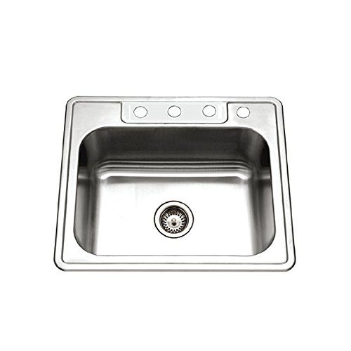 Houzer 2522-9BS4-1 Glowtone Series Topmount Stainless Steel 4-hole Single Bowl Kitchen Sink, 9-Inch Deep by HOUZER (Deep Bowl 4)