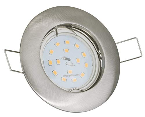 Set Einbaustrahler Optik: Edelstahl gebürstet   + GU10 230Volt 5Watt LED warmweiss 400Lumen Lichtleistung   Lochmaß: 55-68mm, Einbautiefe: 60mm