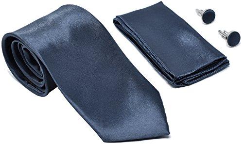 Kingsquare Herren Krawatte, Einstecktuch und Manschettenknöpfe - grau -
