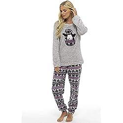 Pijama de Pijamas cómodos Pijamas Snuggle Pijamas cálidos Pijama Twosie Set | Desgaste de Lujo del salón Suave para Las Mujeres para Las Mujeres (16-18, pingüino Gris)