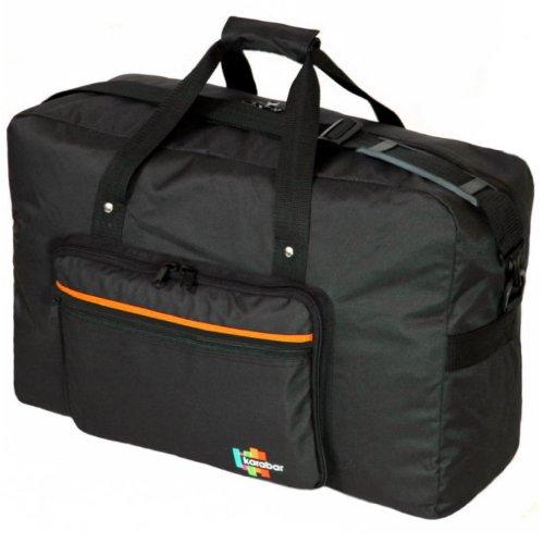 Karabar Superleichten Faltbare Handgepäck 55 x 40 x 20 cm, 44 Liter, 0,7 kg, 3 Jahre Garantie! Schwarz / Orange
