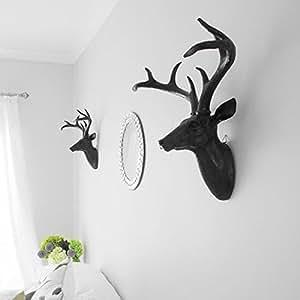 Belle Maison Grande tête de cerf en résine avec bois Noir 43 cm