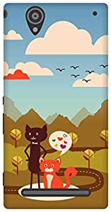 The Racoon Lean Cat Love hard plastic printed back case/cover for Sony Xperia T2 Ultra