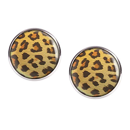 Bio-leopard (Mylery Ohrstecker Paar mit Motiv Leo Leopard Leoparden-Muster silber 16mm)