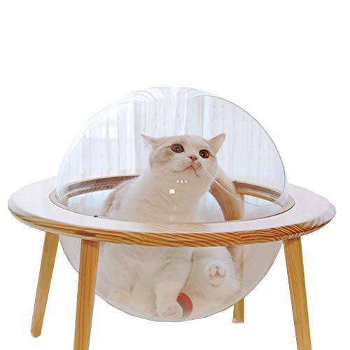 Original Design transparent Raum UFO Holz UFO Katze Bett Haustier Nest Vier Jahreszeiten universal (Farbe : Klar)