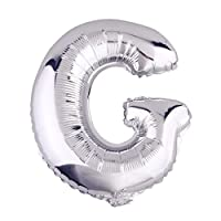 Glanzzeit 32 Inch Silver Foil Balloons Letters A to Z Numbers 0 to 9 Wedding Holiday Birthday Party Decoration (Letter G)