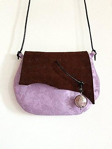 Pochette en tissu de coton damassé et cuir daim avec pendentif vert, limited edition BBagdesign.
