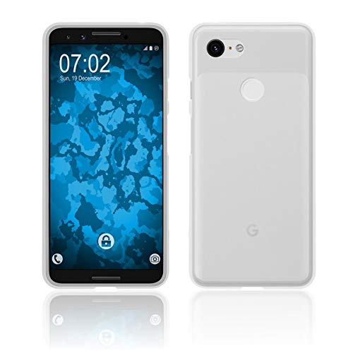 PhoneNatic Case kompatibel mit Google Pixel 3 - transparent-weiß Silikon Hülle matt Cover