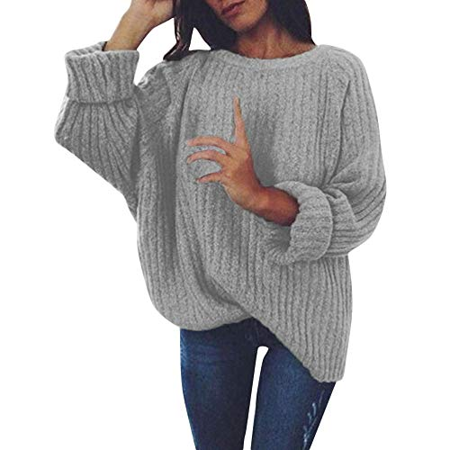 FRAUIT Strickpullover Damen Gestrickt Tief O-Ausschnitt Strickwaren Langarm Pullover Langarm Wrap Front lose Pullover Pullover Jumper (Knit Wrap Pullover)