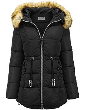 Abrigo largo de invierno de plumón con capucha de pelo largo, efecto parka