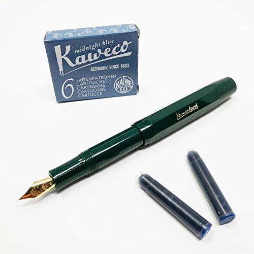 Füllfederhalter Classic Sport von Kaweco | Füller mit Federbreite M | Mit sechs blauen Tintenpatronen GRATIS | Farbe des Füllhalters: grün