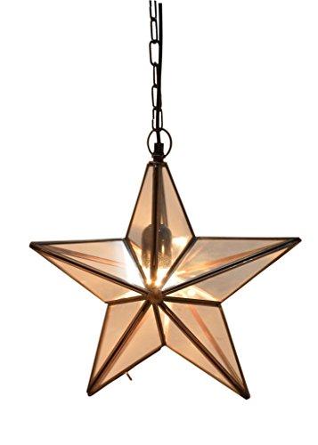 Emporio Arts EMPORIO Lumières fait main en verre à suspendre Star, en verre, en verre avec cadre Nickel, E27, 40 Watts
