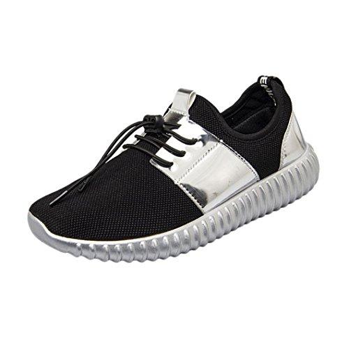 Ansenesna Sneaker Herren Damen Low Flach Elastisch Atmungsaktiv Freizeitschuhe Zum Schnürung Unisex Für Outdoor Trekking (39, Silber) -