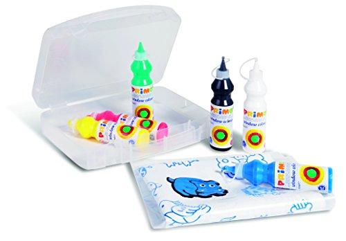 Primo Fenstermalfarbe für Kinder mit Mikrodosierverschluss im Mehrzweck-Koffer inkl. Zubehör, 80g Flasch
