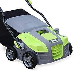 VOLTR – Scarificateur électrique gazon 1800W – Outil 2en1 aérateur et démousseur pelouse, 2 rouleaux : couteaux et griffes, collecteur 55L