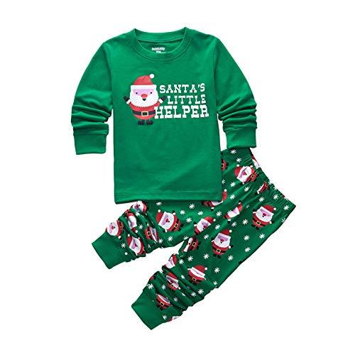DELLOS Zweiteiliger Schlafanzug Baumwolle Lange Nachtwäsche Kinder Pyjama,Christmas(Green)-95cm(3T) - Green Christmas Pyjama
