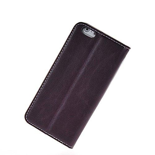 MOONCASE Housse de Protection Coque en Cuir Étui à rabat Case pour Apple iPhone 6 (4.7 inch) Brun Blanc Voilet Blanc