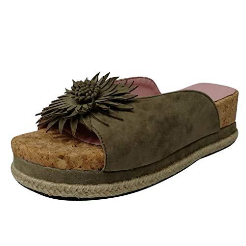 Dorical Damen Roman Slippers Espadrilles Frauen Daisy Übergrößen Flandell Wedge Peep-Toe Hausschuhe Comfort Schuhe Für Casual Strand Outdoor Garten(Z01-Grau,35 EU)
