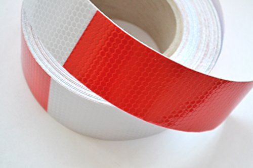 45Meter Truck LKW reflektierend rot/weiß Conspicuity Tape Aufkleber Aufkleber Vinyl für LKW Trailer Van Caravan Camper Chassis ECE 104 (Reflektierende Lkw-tape)