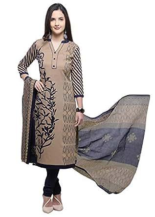 Vaamsi Women's Dress Material (Deep1056_Beige_One Size)