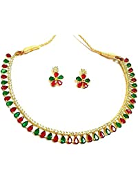 AD Red And Green Metal Necklace With Earrings For Women
