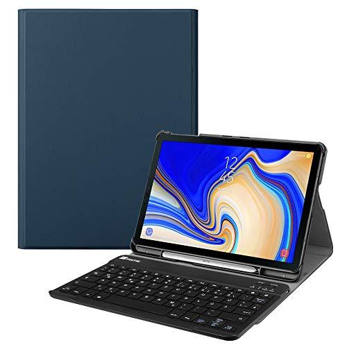 le für Samsung Galaxy Tab S4 T830 / T835 (10.5 Zoll) 2018 Tablet-PC - Ultradünn Schutzhülle mit magnetisch Abnehmbarer drahtloser Deutscher Bluetooth Tastatur, Marineblau ()