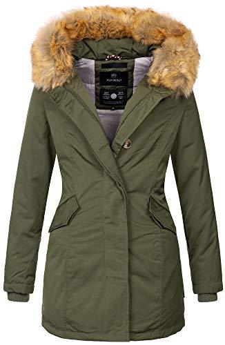 Marikoo Damen Winter Jacke Parka Mantel Winterjacke warm gefüttert B362 [B362-Karmaa-Grün-Gr.XL]