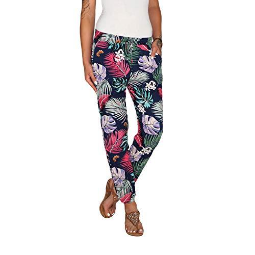 Dresscode-Berlin DB Leichte Damen Baumwoll Sommerhose in 3 verschiedenen dekorativen Designs (One Size, Blau)