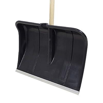 Schneeschieber Kunststoff Schwarz Alukante Holzstiel D-Griff Schneeschaufel