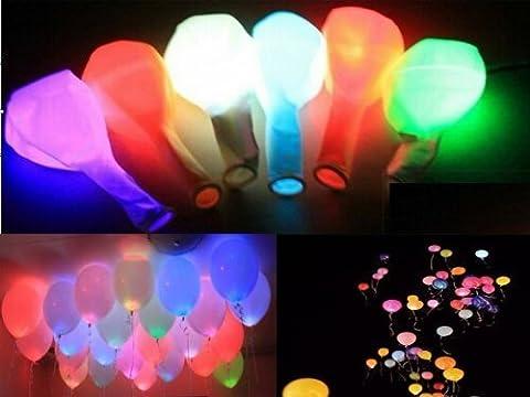 TankerStreet Light up Balloons LED Grow in the Dark, Foil Helium Party Balloons Illuminous with Lights inside Hen Party Bag Filler Multicoloured, Balloons Multipack for Baby Shower Birthday Kids Baby Girls Boys